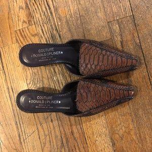 Donald J Pliner 6.5 Moira Snakeskin Mules Heels